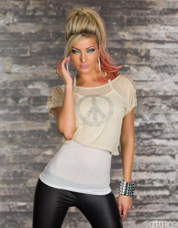 2 teilig Top + Shirt weiß/beige