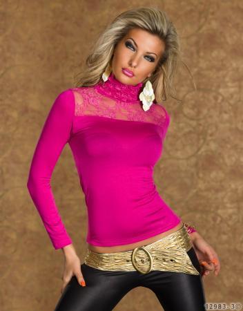 Spitzen-Langarm-Shirt in pink