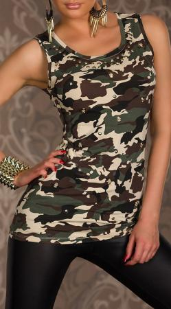 Camouflage-Long-Top beige