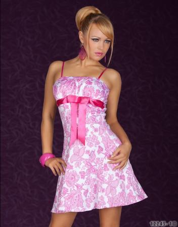 Minikleid mit Blumen-Muster weiß/pink