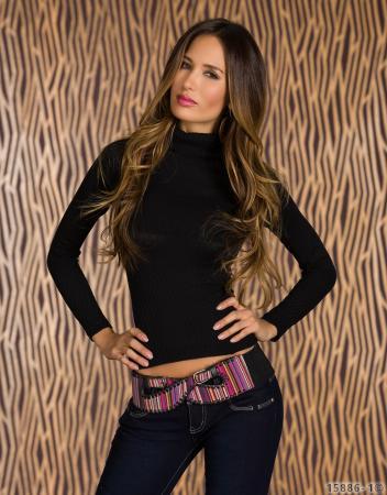 Rollkragen-Pullover in schwarz