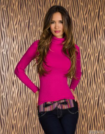Rollkragen-Pullover in pink