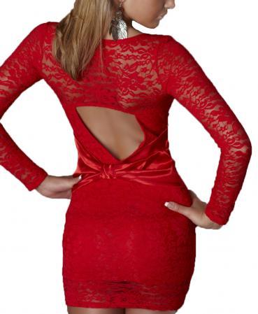 Spitze-Minikleid in rot