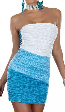 Bandeau-Minikleid blau/hellblau/weiß