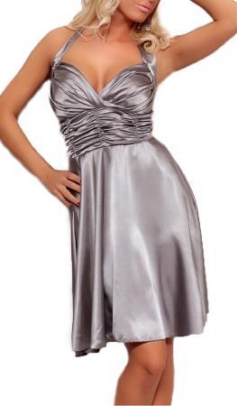 Satin Kleid in A-Linie grau/silber