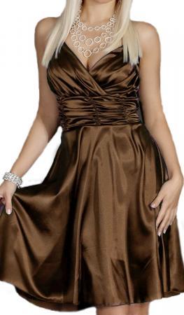 Satin Kleid in A-Linie braun