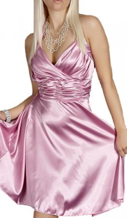 Satin Kleid in A-Linie rosa