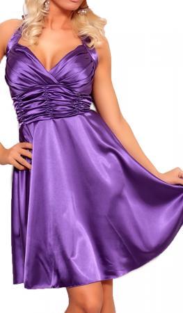 Satin Kleid in A-Linie lila