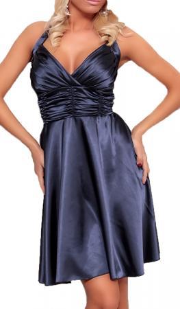 Satin Kleid in A-Linie dunkelblau