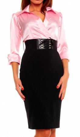 Cocktailkleid in Blusen-Optik rosa/schwarz