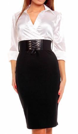 Cocktailkleid in Blusen-Optik weiß/schwarz