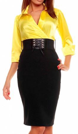 Cocktailkleid in Blusen-Optik gelb/schwarz