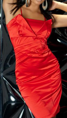 Satin-Abendkleid rot