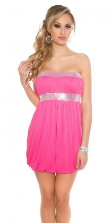 Bandeau-Ballonkleid mit Paillettenborten pink