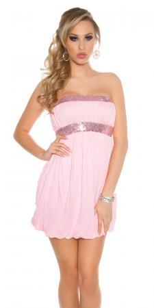 Bandeau-Ballonkleid mit Paillettenborten, rosa