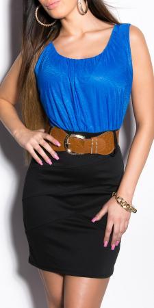 Sommer -Blusenkleid mit Gürtel, royalblau/schwarz