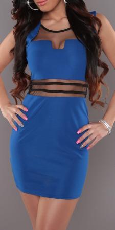 Stretch-Minikleid mit transparenten Einsätzen, royalblau/schwarz