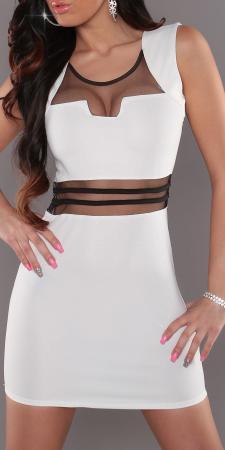Stretch-Minikleid mit transparenten Einsätzen, weiß/schwarz