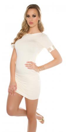 Rückenfreies Minikleid mit Schleife, beige
