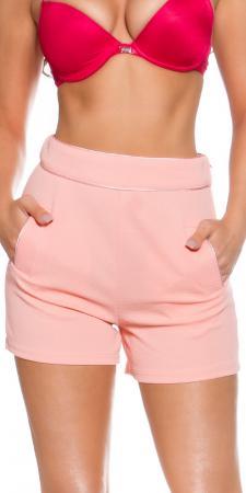 High Waist Shorts mit Taschen, apricot