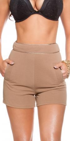 High Waist Shorts mit Taschen, cappuccino
