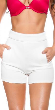 High Waist Shorts mit Taschen, weiß