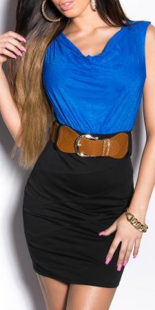 Minikleid schwarz/royalblau