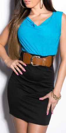 Minikleid schwarz/türkis