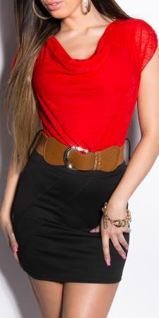 Minikleid mit Wasserfallausschnitt und Gürtel, rot