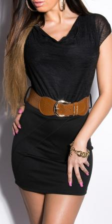 Minikleid mit Wasserfallausschnitt und Gürtel, schwarz