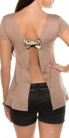 Rückenfreies-Shirt mit Schleife, cappuccino