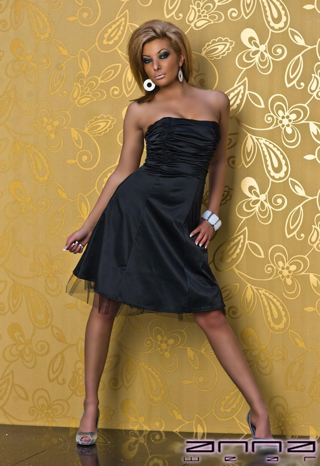 annawear - Festliches Satin-Kleid in schwarz