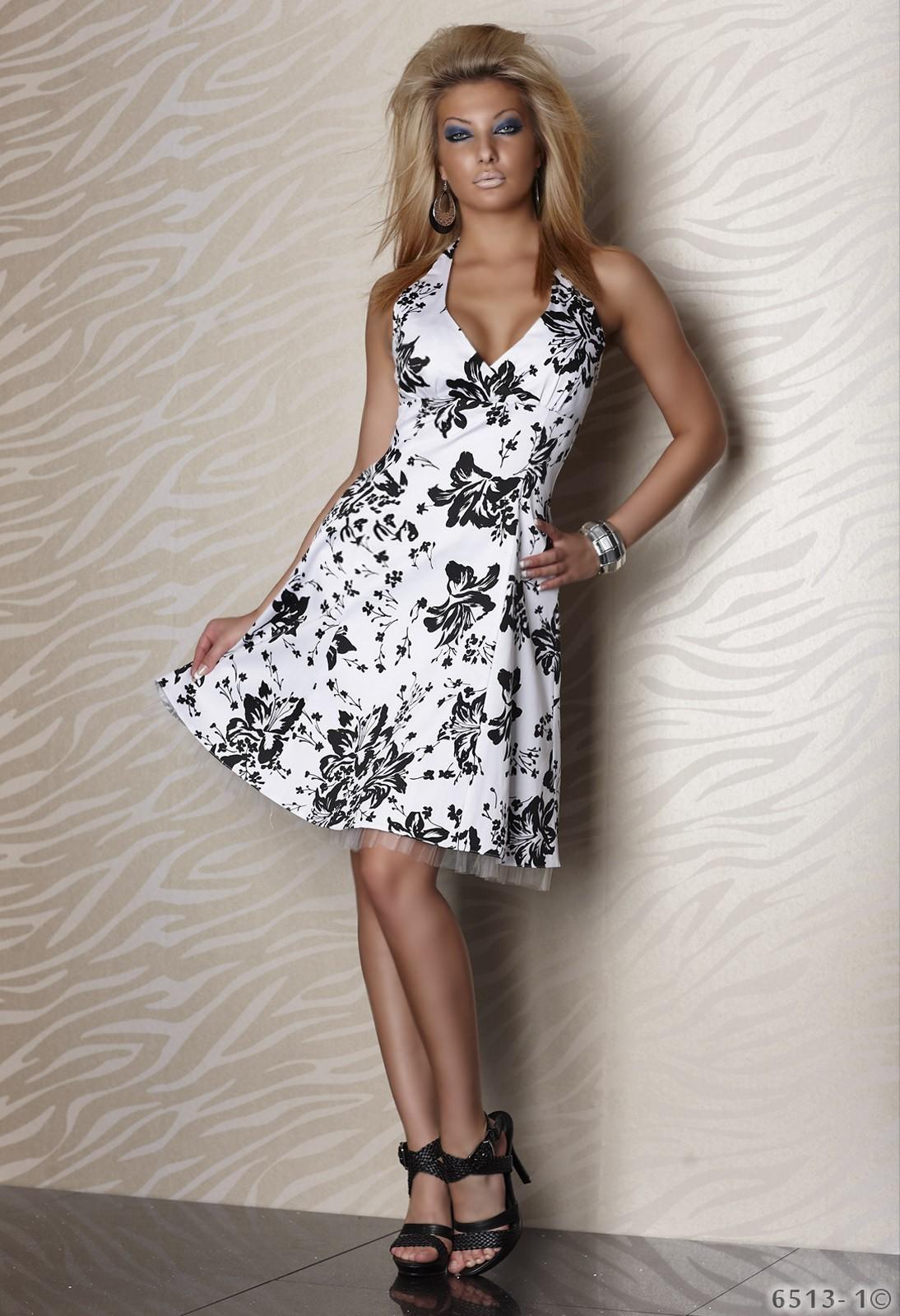 Petticoat Neck-Kleid mit Blumenmuster in weiß/schwarz