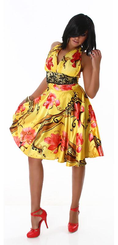 annawear - Knielanges Neck-Kleid gelb