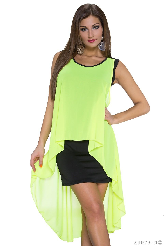 Annawear Vokuhila Kleid In Schwarz Neongelb