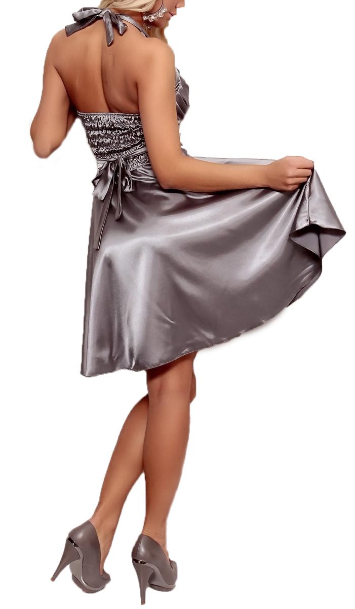 annawear - Satin Kleid in A-Linie grau/silber