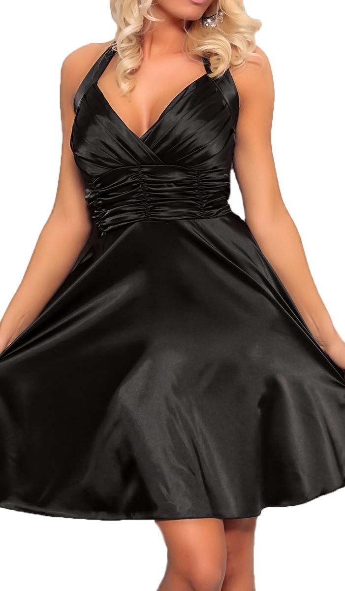 Satin Kleid in A-Linie schwarz