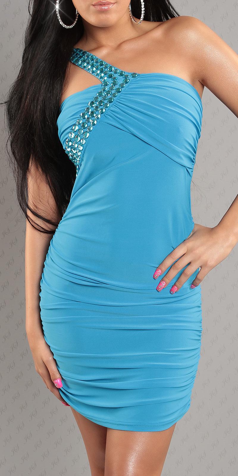 annawear - One Shoulder-Kleid mit Dekosteinen besetzt, türkis