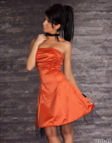 Bandeau-Minikleid aus Satin orange
