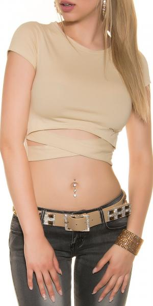 Crop Shirt in Wickeloptik, beige